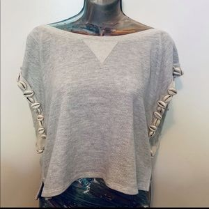 Grey Cropped Shirt Embellished with Cowrie Shells